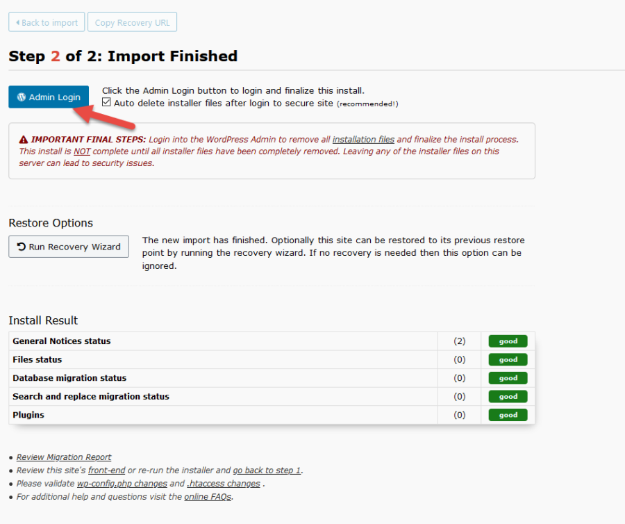 Drag and Drop Import Admin Login