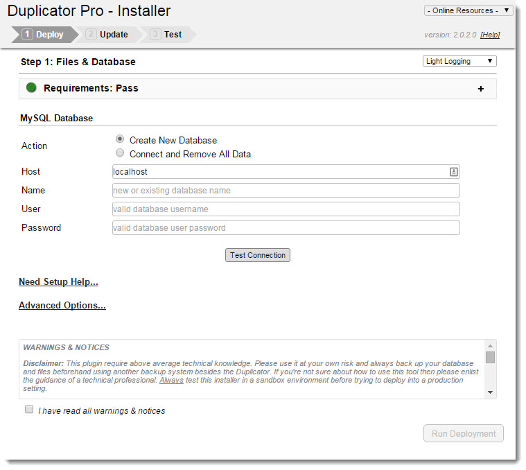 Running the Duplicator Pro installer to install the WordPress site at the new location.