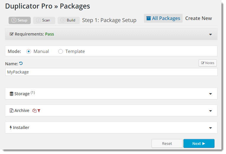 First step in moving WordPress using the Duplicator Pro plugin.